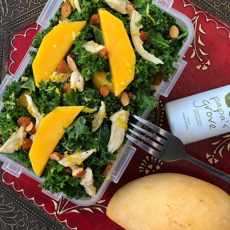 kale and mangos salad with shrimp recipe
